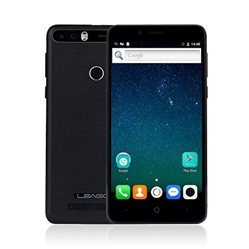 Smartphone Libre con 4000mAh Batería, LEAGOO KIICAA POWER 3G Móviles de 5.0'' HD IPS Android 7.0 (Dual Cámara 5MP + 8MP, 2GB RAM 16GM ROM, MT6580 1.3Ghz Quad Core, Huella Datilar, Dual Sim) (Negro)