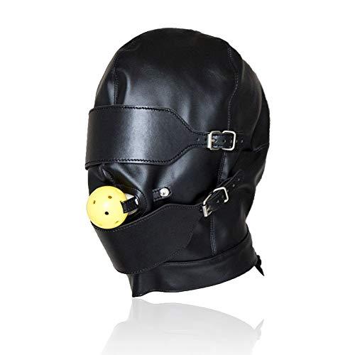 Kopfmaske SM Bondage Maske, BDSM PU Leder Schwarze -