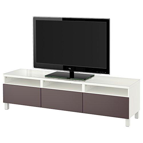 IKEA BESTA - TV-Bank mit Schubladen Weiß / valviken dunkelbraun