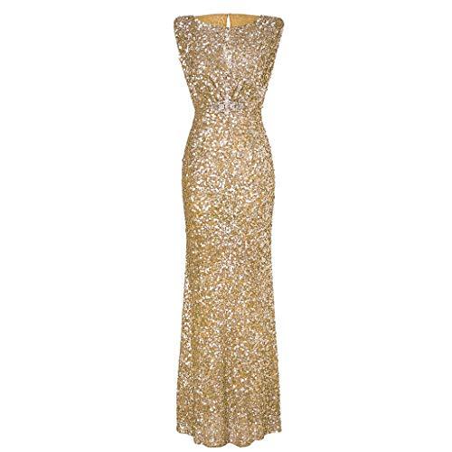 Riou Damen Ballkleider Lang Sexy Schulterfrei Glänzend Hoch Geschnitten Langarm Abendkleider Elegant für Hochzeit Festlich Party Kleider (M, Gold)