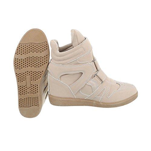 Sneakers Alte Scarpe Da Donna Zeppe Con Tacco Alto / Zeppa Sneakers Velcro Ital-design Scarpe Casual Beige