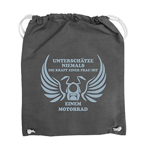 Comedy Bags - UNTERSCHÄTZE NIEMALS FRAU MIT MOTORRAD - Turnbeutel - 37x46cm - Farbe: Schwarz / Silber Dunkelgrau / Eisblau