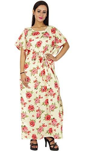 Phagun Bohemian Robe Imprimée En Coton Caftan Maxi Pyjamas Blanc Et Rose