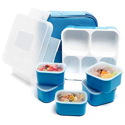 Fun Life Bento Box, Lunch Box mit 5 Fächern, Kinder Brotdose, BPA-frei, auslaufsicherer Behälter Deckel für Schule, Picknick, Ausflug (Blau)