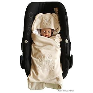 Manta universal para bebé, de entretiempo y verano, para capazo, silla de coche (por ejemplo, para Maxi-Cosi, Römer), cochecito o cuna, color gris oscuro/gris,diseño de ratón