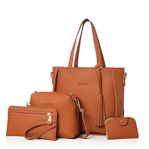 Damen Handtasche Top Griff große Kapazität Quaste Handtasche Mode Umhängetasche PU Messenger Bag -