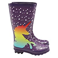 M&Co Girls Purple Unicorn Design White Star Gripped Sole Rubber Wellies