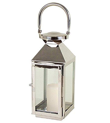 Edelstahl Laterne Windlicht mit Glasfenster Stilvolle Akzente Pyramide Kerzenhalter ca. 10x11x24/34 cm