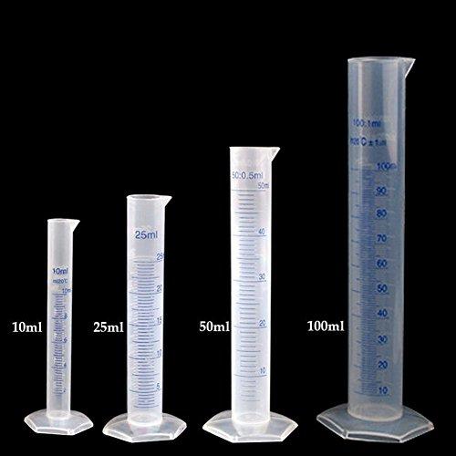 Distinct® 4pcs 10ml ~ 100ml Messzylinder Kunststoff abgestufte Labor-Test Liquid Tube Messwerkzeug (verschiedene Größen) -