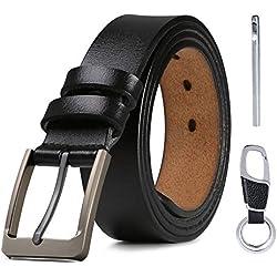flintronic Cinturón Para Hombres, Cuero Cinturón con Hebilla de Pin Cinturones Elegantes para Jeans, Trajes, Ropa Informal y Formal, con Llavero y Caja de Regalo