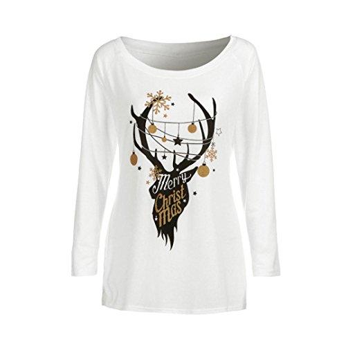 Camicia a maniche lunghe, Rcool Stampe alce Donna T-Shirt Christmas Bianco