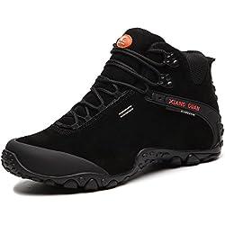 XIANG GUAN Zapatos de deporte y aire libre, botas de cuero de invierno para senderismo para hombre 82287 negro 41