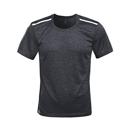 T-Shirt De Compression De Musculation pour Homme,Mounter Man T-Shirt Décontracté à Col Rond Et à Manches Courtes Matériel Extensible Et Ventilé Anti Transpiratio