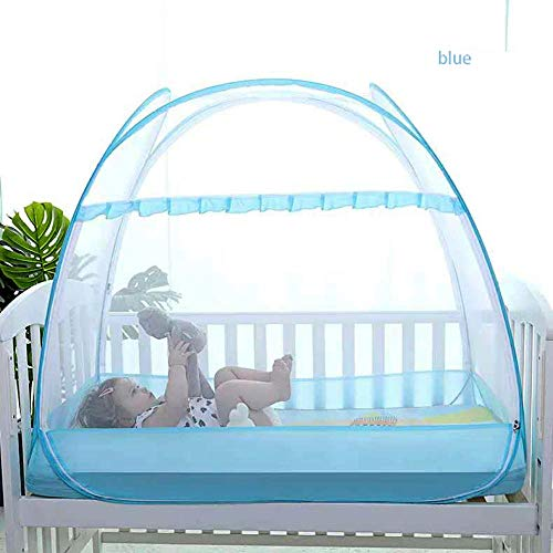 LLSTRIVE Moustiquaire dôme Pop-up,Moustiquaire de lit pour empêcher Le bébé de Tomber, Installation Gratuite des piqûres Pliables Anti-moustiques @ Blue_120cm * 65cm * 100cm