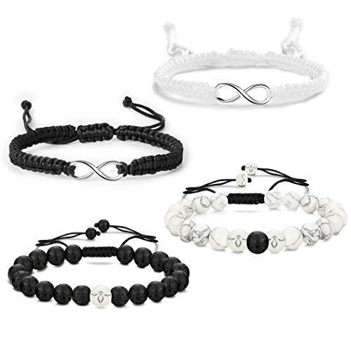 YADOCA 4 Stück Armband für Frauen Männer Paar Liebe Unendlich Lavagestein Armband Handgefertigtes Seil Verstellbares Seil