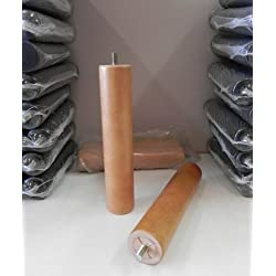Pack 4 patas para somier o base tapizada cilíndricas, madera color haya