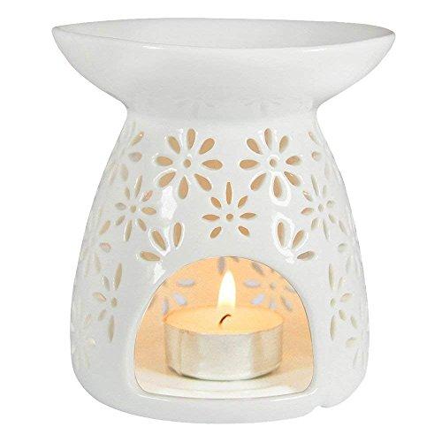 nobrand Keramik Verdampfer Weihrauch Lampe Handbuch Hohl Multi Blumen Kerze Wesentlich Öl Ofen (Weiß)