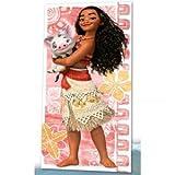 Kids Disney Vaiana Moana - Serviette de bain Drap de plage, 100% coton, rose 70 x 140 cm