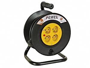 Enrouleur rallonge électrique 25m - 3G1.5 - 4 prises