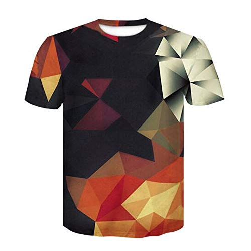 Tops für Männer T-Shirt Männer Bluse Männer 3D Flood Printed Kurzarm Fashion Trend Slogan,3D Digitaldruck geometrisch schwarz 3XL (2 Peak Top Alien)
