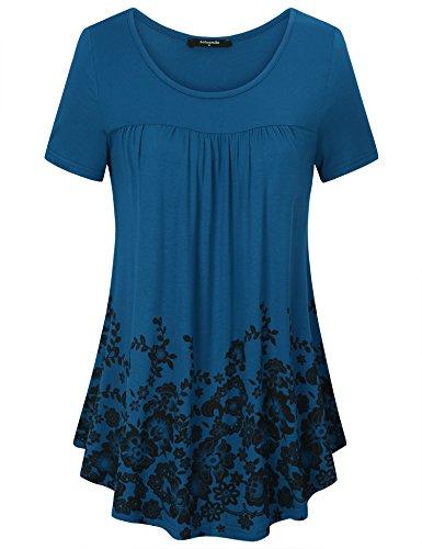 Lotusmile Locker Freizeit Oberteile für Damen, Frühlings Sommer Kurzarm Neueste Mode Cute Farbig Vielseitig Pullover Lightweight Florale Tunika Shirts,Dunkle Grün M (Pullover Floral)