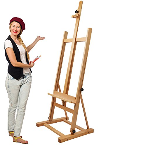 Artina Easel Siena Studio Easel made of High Quality Oiled Beechwood 56 x 56 x 170 CM Foldable Wooden Easel