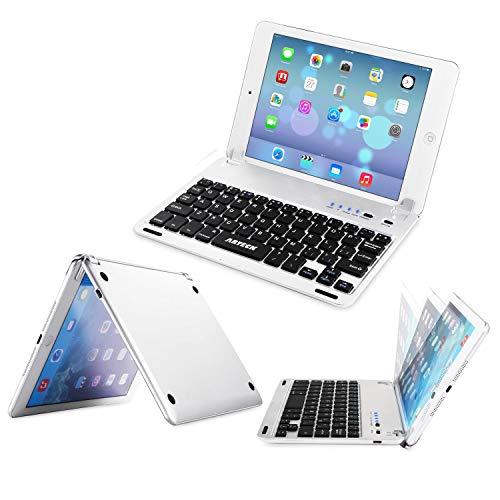 Arteck Tastatur für iPad 5 (2019) / iPad Mini 4 QWERTZ for Apple iPad Bluetooth Folio Tastaturabdeckung mit eingebautem Ständer für Apple iPad Mini 5 / iPad Mini 4 mit 130 Grad Verstellbarer Drehung (Apple Ipad Mini Tastatur)
