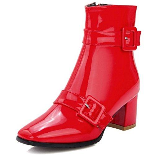 COOLCEPT Damen Mode-Event Blockabsatz Beiläufig Schuhe Reißverschluss und Schnalle Stiefeletten Rot