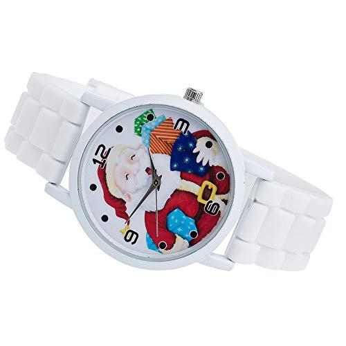 Weihnachtsgeschenk Lady Glasspiegel Uhr Weihnachtsmann Muster Silikonband Kinlin Damen Uhren