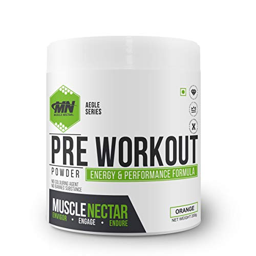 Muscle Nectar (MN) PreWorkout Gym Supplement to Boost Your Energy & Performance/Body Building Powder for Men & Women, 200g (Orange)