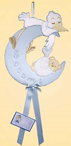 Fiocco nascita luna-cicogna non da ricamare azzurro