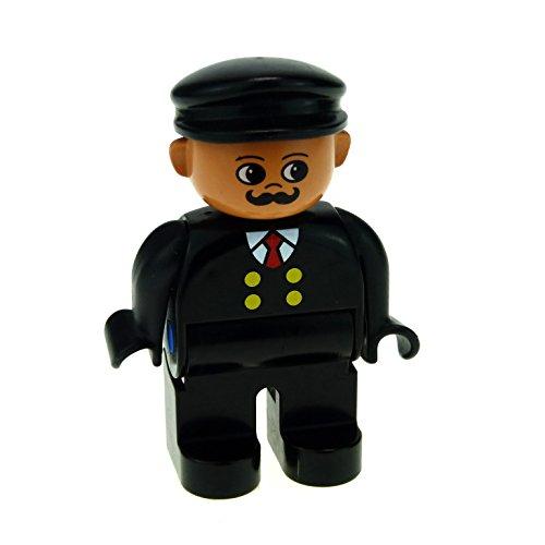 1 x Lego Duplo Figur Mann Lokführer Hose Oberteil schwarz mit Knöpfe gelb Mütze Hut schwarz Bahnhof Eisenbahn Zug (Mit Gelben Mann Dem Hut)