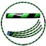 Pro Hula Hoop Reifen Erwachsene (Schwarz/Grün UV) Zerlegbarer 4 piece Travel Hula Hoop für Training u. Tanz HoopDance - Größe 100cm, Gewicht 650g
