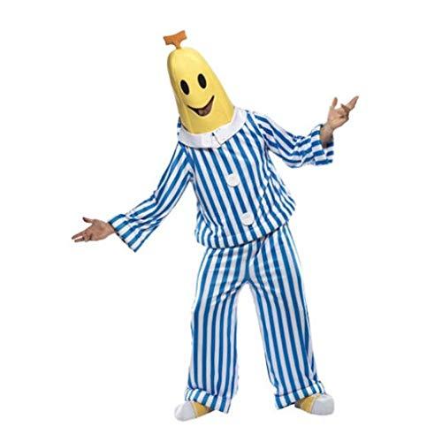 ZSTY Cosplay, Halloween Kostüm Halloween Blau Und Weiß Gestreifte Banane Cosplay Bananen Kostüm Neutral/Männer Und Frauen,XXL