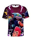Brawl Stars Maglietta con Stampa 3D per Bambini,Maniche Corte Maglia con Tinta Unita Estate T-Shirt Tee Camicia Blusa Tops Camicetta Maglietta da Ragazzo Ragazza (E,110)