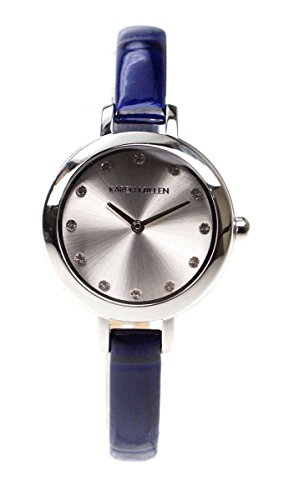Karen Millen Kma101u Silver Dial and Blue Leather Ladies Watch With Swarovski Elements