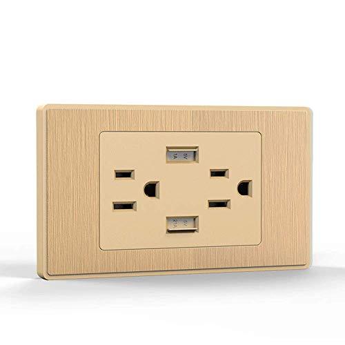 XHHWZB USB-Ladegerät für hohe Geschwindigkeit, USB-Wandladegerät, Steckdose mit USB, 15A-TR-Buchse, schraubenlose Wandplatte für iPhone X, iPhone 8/8 Plus, Galaxy und mehr (Farbe : Gold)