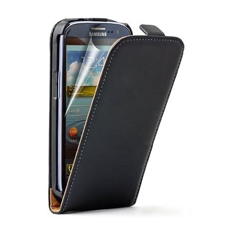 Ultra Slim Noir Cuir Étui Coque pour Samsung Galaxy S3 (GT-i9300 / I9300I S3 Neo / Galaxy SIII Neo+ / GT-i9308) - Flip Case Cover Pochette + 2 Film protection d