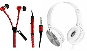 MIRZA Zipper Earphones & Extra Extra Bass XB 450 Headphones for MOTOROLA razr xt910(Zipper Earphones||With MIC||Zipper Earphones & Extra Extra Bass XB450 Headphones||Gym Headphones||Sports Headphones)