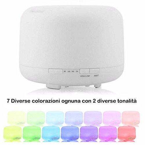 DOBO Diffusore di aromi 4 in 1 umidificatore ad ultrasuoni aromaterapia purificatore di aria e colorata lampada di design 300ml o 500 ml - Diffusore con 7 Led relax design (500ML)
