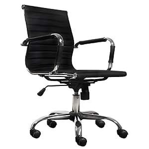 vidaXL Chaise de bureau moderne simili cuir noir