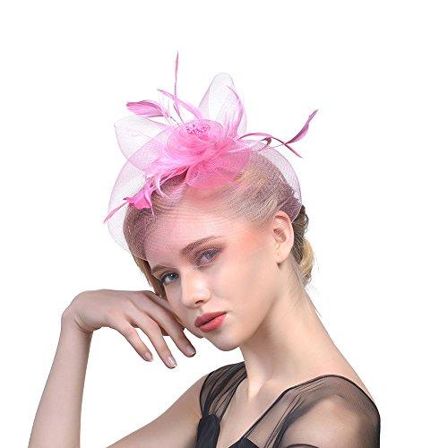 iKulilky Donna Mesh Fiore Pill Box Cappello Piuma Fascinator Cappello matrimonio capelli gioielli copricapo per party Chiesa Cocktail, Rosa, Taglia unica