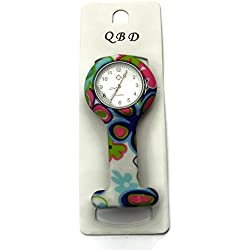 QBD Clip Series-Nurses Glowing Hands Red Cross Patterned Silicon Rubber Fob Watch - Blue Flowers