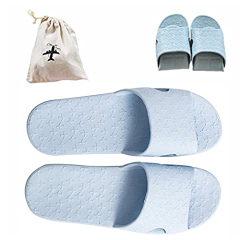 Flodable pour Trip Slip on Chaussons avec un sac de rangement en lin gratuit antidérapant Douche Sandales Maison Mule léger piscine Chaussures de salle de bain Slide, bleu clair