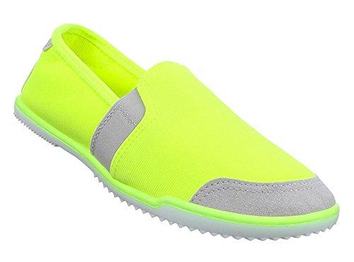 Baixos Neon Sapatos Femininos Amarelo Deslizador Sapatos XwXEvxB