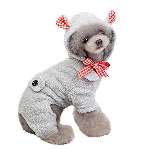 Hunde Bär Kostüm - BBring Bär Haustier Kostüm für Katzen Hunde, Halloween Haustier Kostüm Dress Up Vlies Haustier Mantel mit Ohr Winter Nette Hunde Katze Haustier Kleidung für Hündchen Kätzchen (XL, Grau)