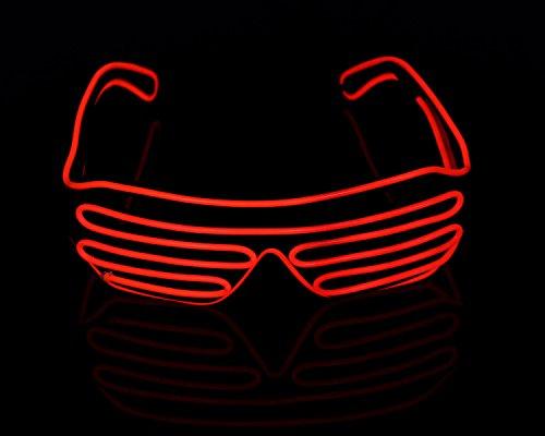 Xcellent Global El.Draht Brille Neon LED Leuchten Schwarz Shutter Rahmen Party Lichter Dekorationen für Halloween Kostüme Weihnachten, Rot LD127R