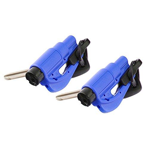 KOBWA Auto Notfallhammer Schlüsselanhänger, Glasbrecher+Gurtschneider Rettungshammer Escape Safety KFZ Federkörner Sicherheit Werkzeuge (2er-Set, Blau)