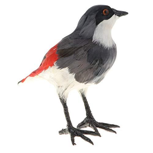 B Blesiya Rot Würger Vogel Dekofigur Modell Spielzeug Skulptur Ornament für Wohnkultur und Garten -
