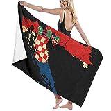 cleaer Badetuch Übergroße 32'x 51' Quick Dry Badetuch, leicht, super saugfähig, Kroatien Karte Umriss Flagge Badetuch